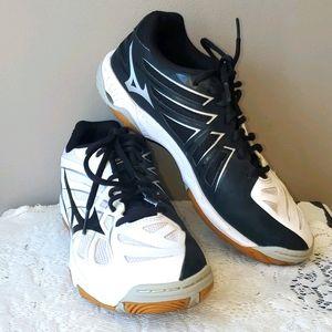 Mizuno Wave Hurricane 3 Black & White Court Shoes